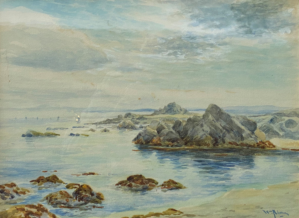 An early view of the Monterey Peninsula coast from near the artist's home in Pacific Grove, CA.  William Adam was one of the first artists to paint on the Monterey Peninsula.