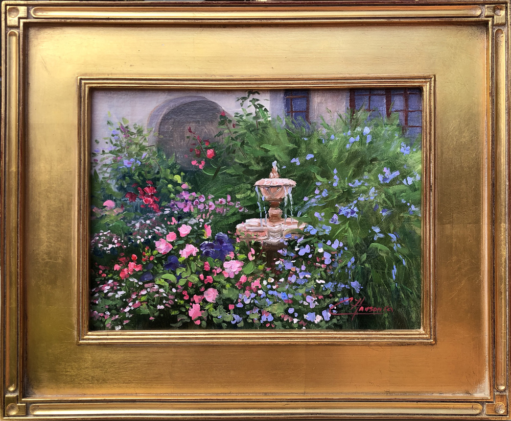 A colorful plein air garden scene with a fountain and a glimpse of buildings in the background at the Carmelite Monastery near Carmel, California.