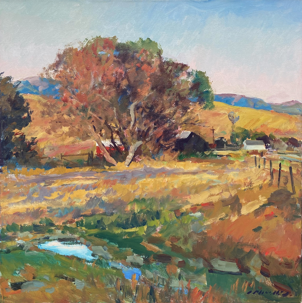Charles Movalli - Coastal Ranch (Cambria) - Acrylic on Canvas - 36 x 36