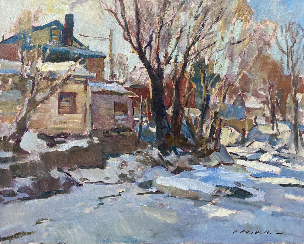 Charles Movalli - Frozen Stream - Oil on Canvas - 24 x 30