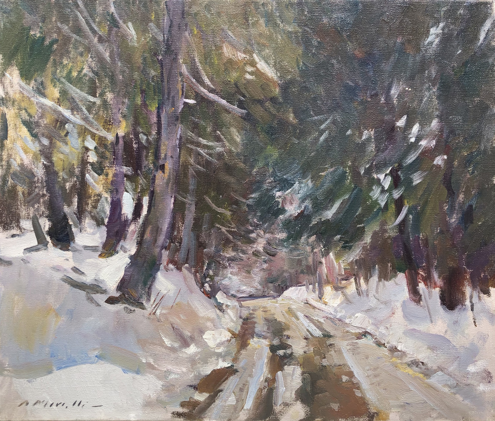 Charles Movalli - Snowy Country Road - Oil on Canvas - 20 x 24