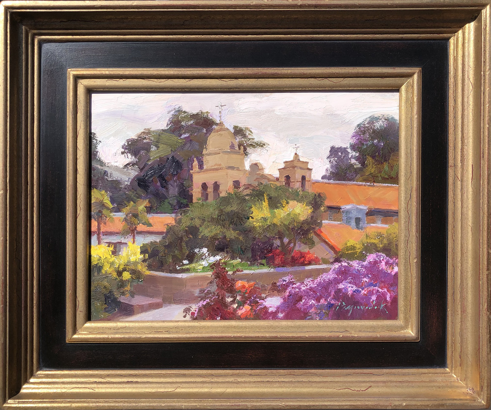 Camille Przewodek - Carmel Mission - Silvery Light - Oil on Board - 9 x 12