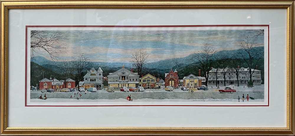 One of Rockwell's most famous images, depicting Stockbridge, MA at Christmas.  Signed by Norman Rockwell and purchased from the Norman Rockwell Museum Store in 2000.  Orignal invoice accompanies the signed print.