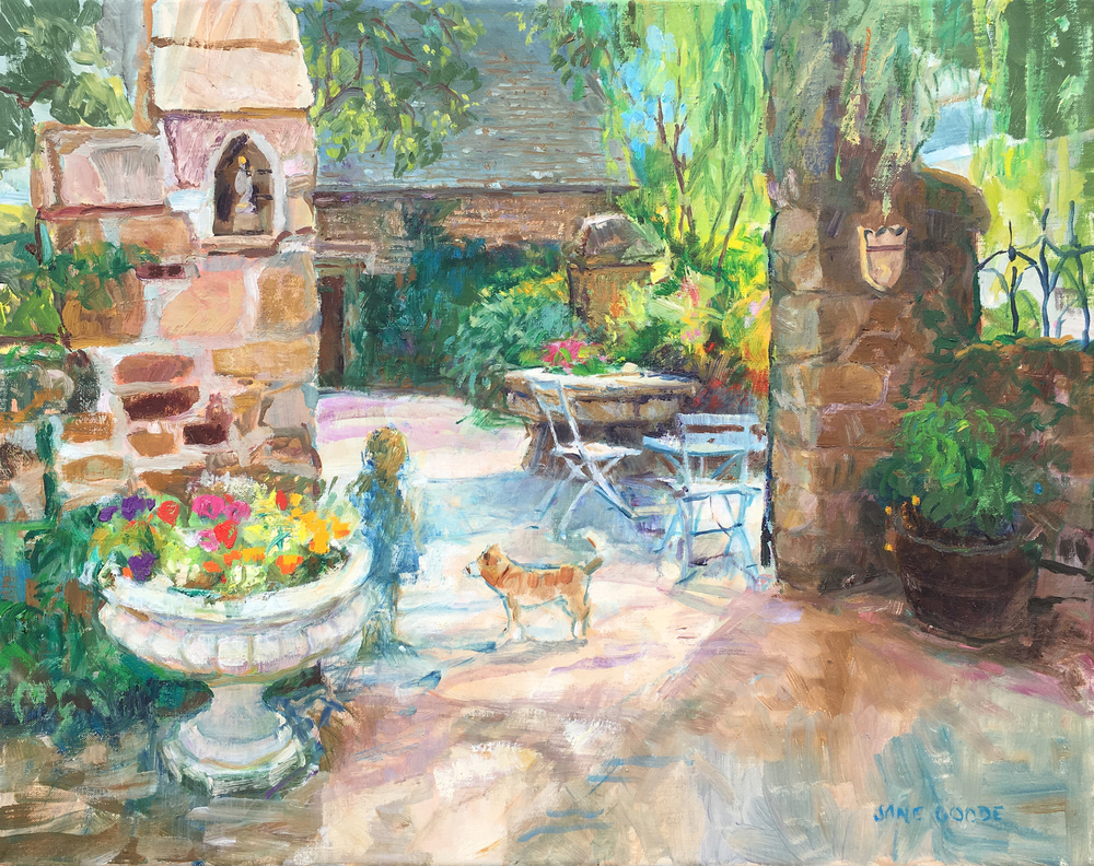 An Impressionist café scene in Pont-Aven, France with a young girl and dog.