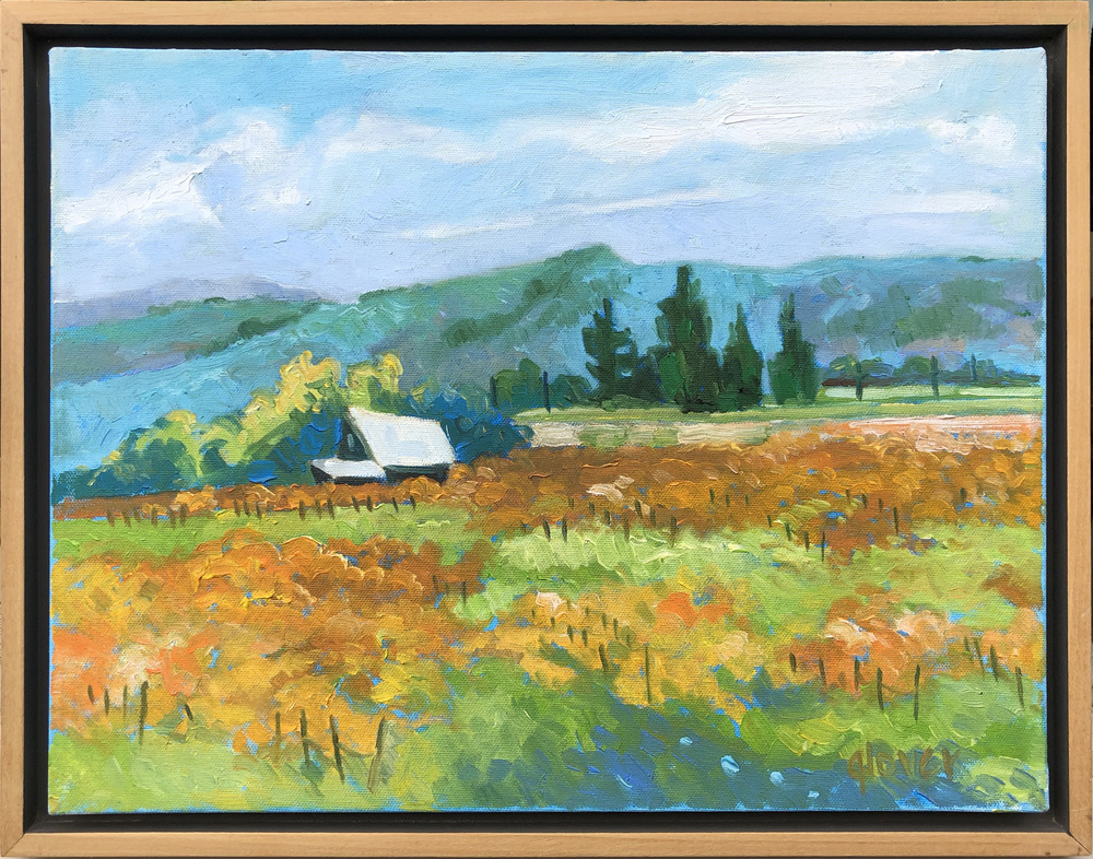 A colorful plein air landscape of a farm and fileds in fall with hills in the background.