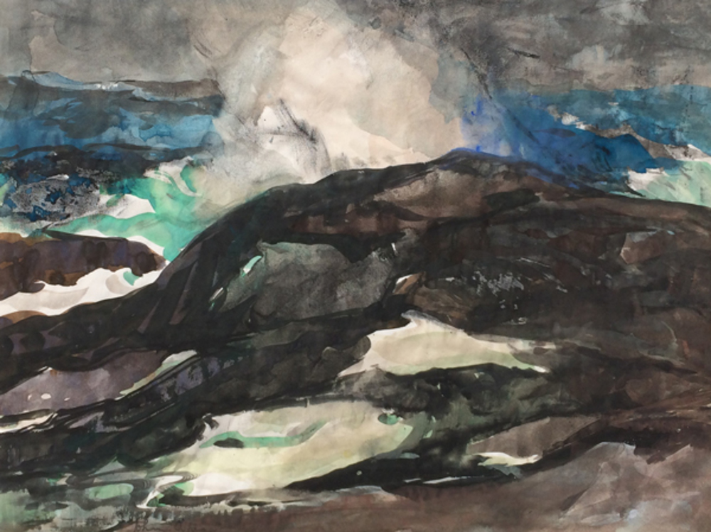 Semi-abstract seascape of stormy waves crashing upon rocks, probably painted near the artist's home in the Carmel Highlands near Carmel, California.