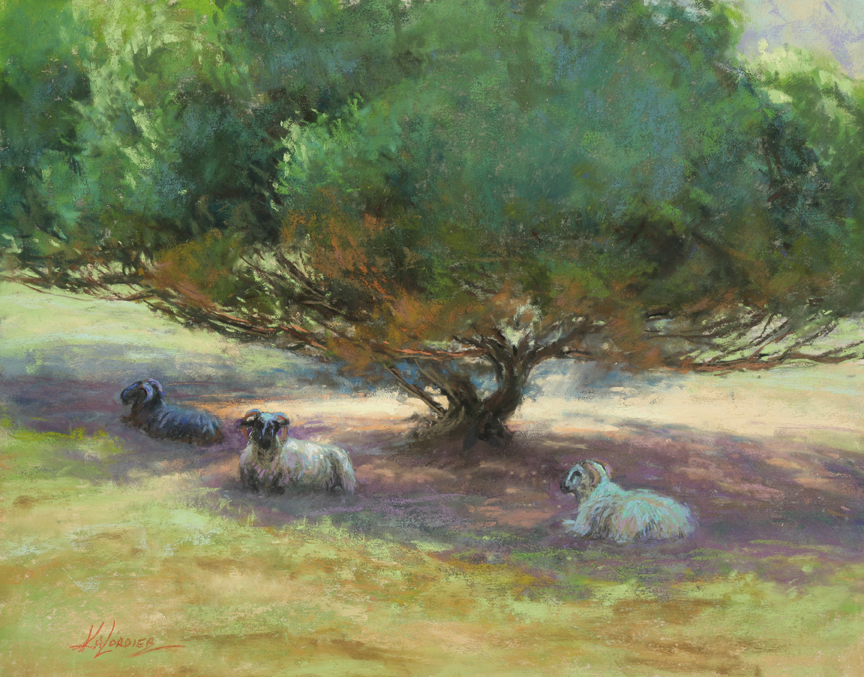 Kim Lordier - Lazin' at Mission Ranch - Pastel on Archival Board - 11 x 14
