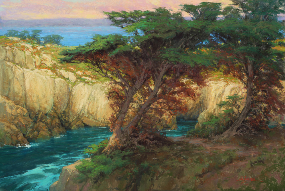 Coastal cypress trees cling to cliffs in a cove at Point Lobos State Park in Carmel, California.