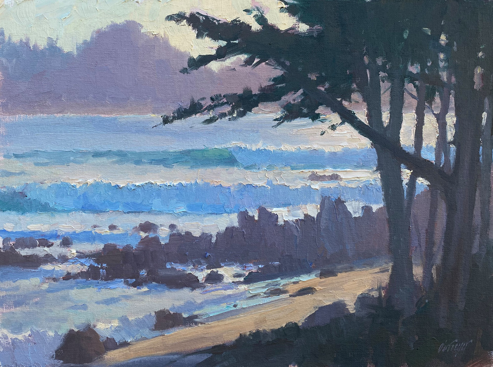 Michael Obermeyer - Surf Off the Point - Oil on Canvas/Board - 12 x 16