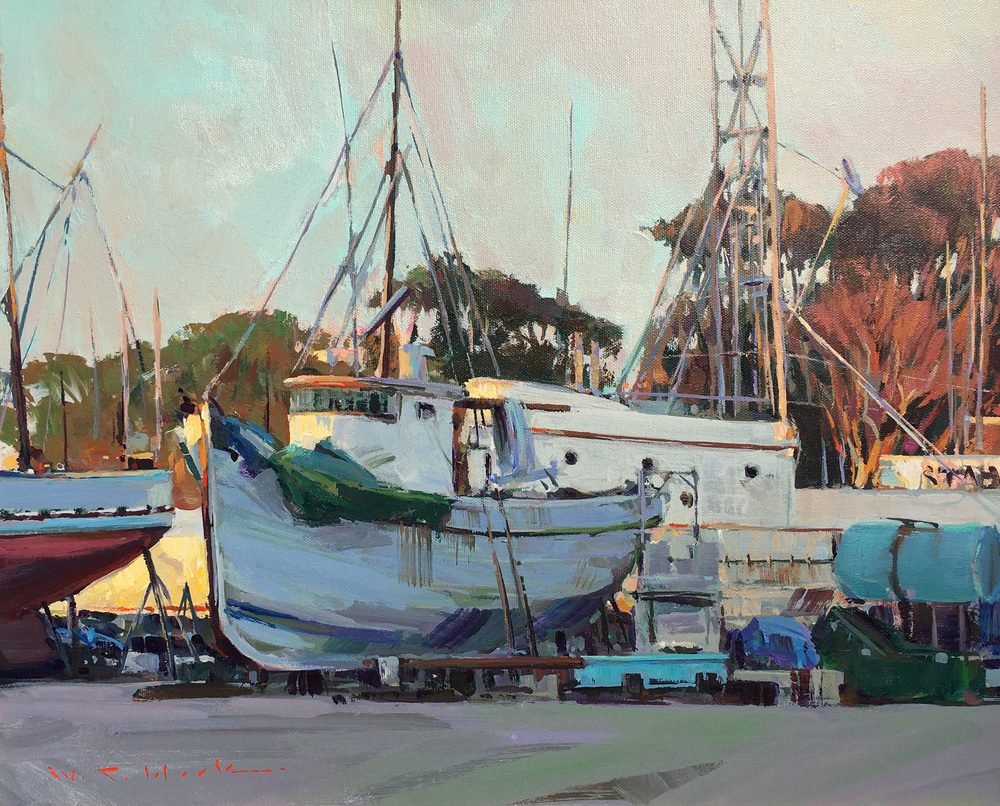 Commercial fishing boats in drydock under repair at Moss Landing, CA