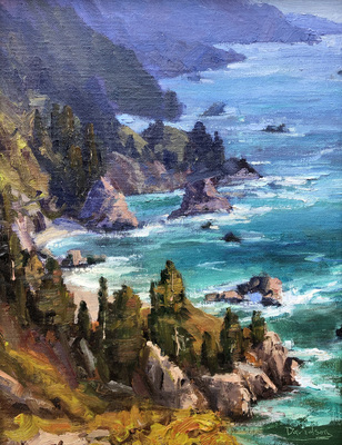 Title: Pacific Coast , Date: 2019 , Size: 14 x 11 , Medium: Oil on Canvas/Board , Price: $2,500