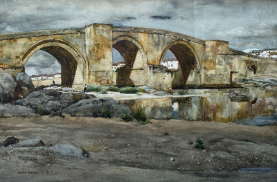 Golden sunlight falls on an ancient Roman bridge across the Tagus river in Arzobispo near Oropesa, Spain.  Painted in 1973.