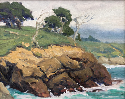 Title: Cypress Coast , Date: c. 1930's , Size: 8 x 10 , Medium: Oil on Canvas/Board , Price: $2,500