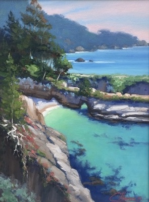 Title: China Cove, Pt. Lobos , Date: 2018 , Size: 16 x 12 , Medium: Oil on Linen Panel , Price: $1,250