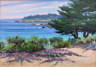 Title: Pebble Beach View , Date: 2019 , Size: 9 x 12 , Medium: Oil on Linen Panel , Price: $950