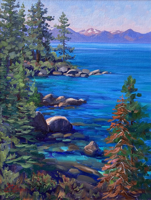 Title: East Shore Blues, Lake Tahoe , Date: 2019 , Size: 16 x 12 , Medium: Oil on Linen Panel , Price: $1,250