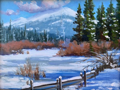Title: Winter Shadows , Date: 2020 , Size: 9 x 12 , Medium: Oil on Linen Panel , Price: $950