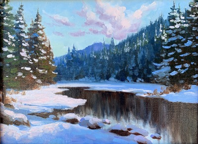 Title: Winter Reflections , Date: 2020 , Size: 9 x 12 , Medium: Oil on Linen Panel , Price: $950