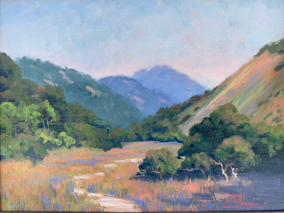 Lupine, oaks and rolling hills in Springtime in Carmel Valley, CA.