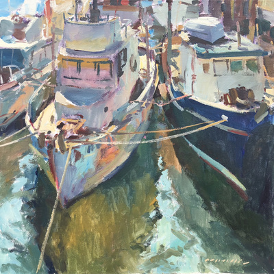 Title: Fishing Fleet at Rest , Date: c. 2001 , Size: 36 x 36 , Medium: Acrylic on Canvas , Price: $9,900