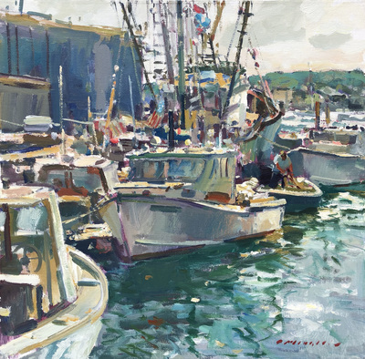 Title: Gloucester Harbor , Date: c. 2004 , Size: 36 X 36 , Medium: Acrylic on Canvas , Price: $9,900