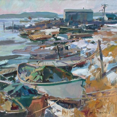 Title: Stonington Harbor , Date: 2008 , Size: 36 x 36 , Medium: Acrylic on Canvas , Price: $9,900