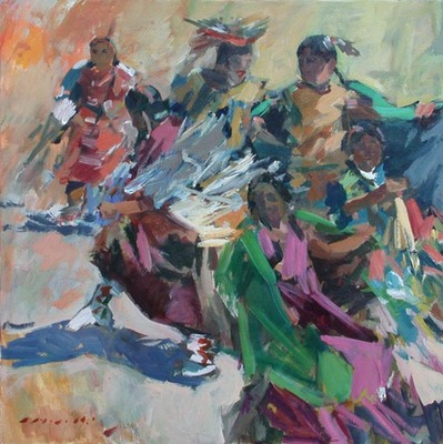 Title: Ceremony (Indian Dance) , Date: c. 2008 , Size: 30 x 30 , Medium: Acrylic on Canvas