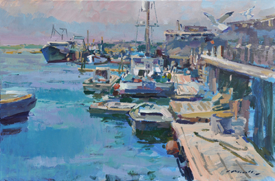 Title: Along the Dock , Date: c. 2013 , Size: 24 x 36 , Medium: Acrylic on Canvas , Price: $8,500