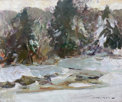 Charles Movalli - Snowey Day - Oil on Canvas - 20 x 24