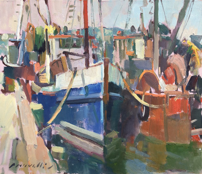 Title: Blue Boat in Harbor , Date: c. 1990 , Size: 20 x 24 , Medium: Oil on Canvas , Price: $5,500