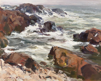 Charles Movalli - Rocky Coast - Oil on Canvas - 20 x 24