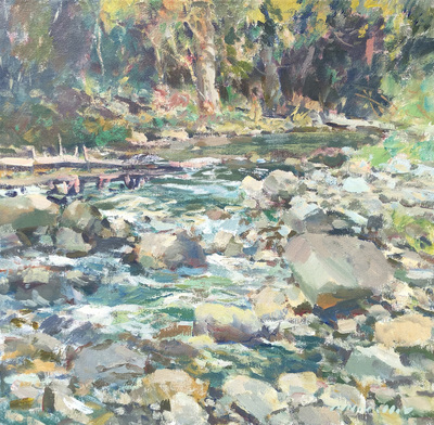 Charles Movalli - Mountain Stream - Acrylic on Canvas - 30 x 30