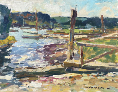 Title: Broken Dock , Date: c. 1980's , Size: 16 x 20 , Medium: Oil on Canvas/Board