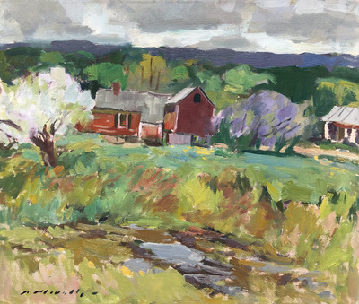 Charles Movalli - Red Barn - Oil on Canvas - 20 x 24