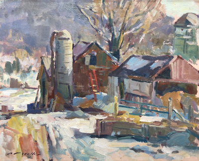 Charles Movalli - The Old Farm - Oil on Canvas - 20 x 24