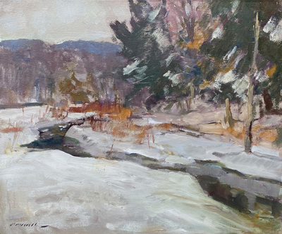 Charles Movalli - Winter Stream #2 - Oil on Canvas - 20 x 24