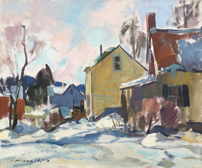 Charles Movalli - Winter's Town - Oil on Canvas - 20 x 24