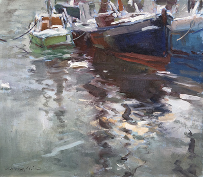 Title: Harbor Reflections , Date: c. 1980's , Size: 20 x 24 , Medium: Oil on Canvas , Price: $5,500