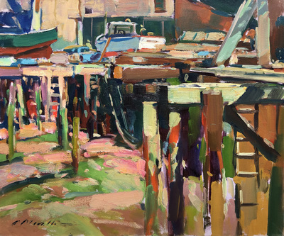 Title: Under the Pier , Date: c. 1980's , Size: 20 x 24 , Medium: Oil on Canvas , Price: $5,500