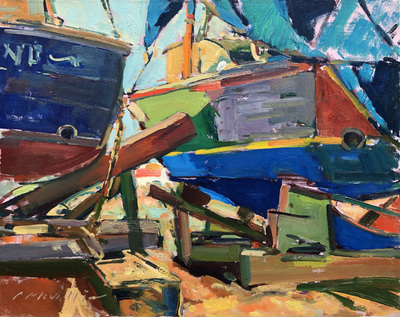 Title: Boatyard Patterns , Date: c. 1980's , Size: 20 x 24 , Medium: Oil on Canvas , Price: $5,500