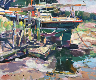 Title: In Harbor , Date: c. 1980's , Size: 20 x 24 , Medium: Oil on Canvas , Price: $5,500