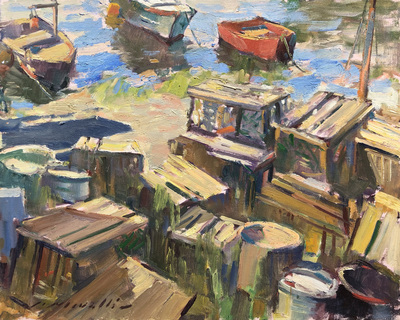 Title: Lobster Traps , Date: c. 1980's , Size: 20 x 24 , Medium: Oil on Canvas , Price: $5,500