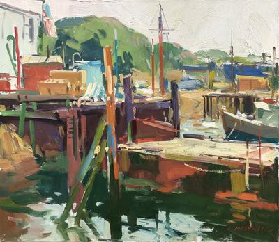 Title: Dockside , Date: c. 1980's , Size: 20 x 24 , Medium: Oil on Canvas , Price: $5,500