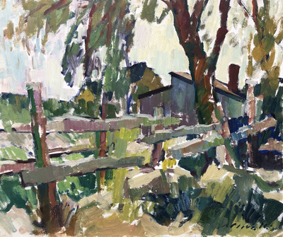 Charles Movalli - Farm Fence - Oil on Board - 20 x 24