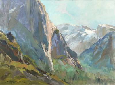 Title: Bold Mountains (Yosemite) , Date: c. 2000's , Size: 22 x 28 , Medium: Acrylic on Canvas