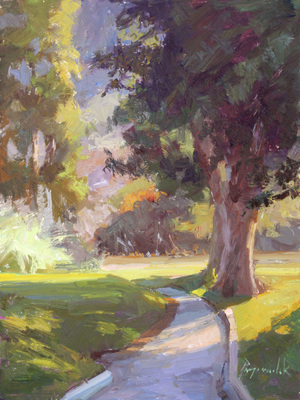 Title: Path Shadows , Date: 2013 , Size: 12 x 9 , Medium: Oil on Panel , Price: $2,250
