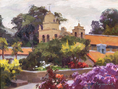 Title: Carmel Mission - Silvery Light , Date: 2018 , Size: 9 x 12 , Medium: Oil on Board , Price: $2,250