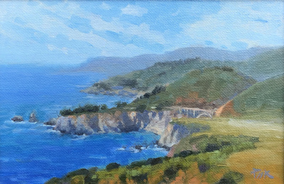 Title: Coastal Glory (Hurricane Point, Big Sur) , Date: 2019 , Size: 6 x 9 , Medium: Oil on Canvas/Board , Price: $1,450