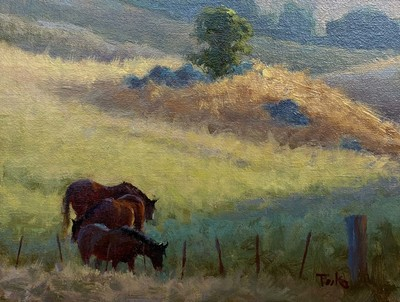 Carol Peek - April Pasture - Oil on Canvas/Board - 6 x 8 - This painting is being offered unframed.  We can arrange framing of your choice at an additional cost.