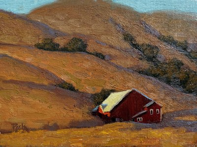 Carol Peek - Red Barn, Petaluma - Oil on Canvas/Board - 6 x 8 - This painting is being offered unframed.  We can arrange framing of your choice at an additional cost.